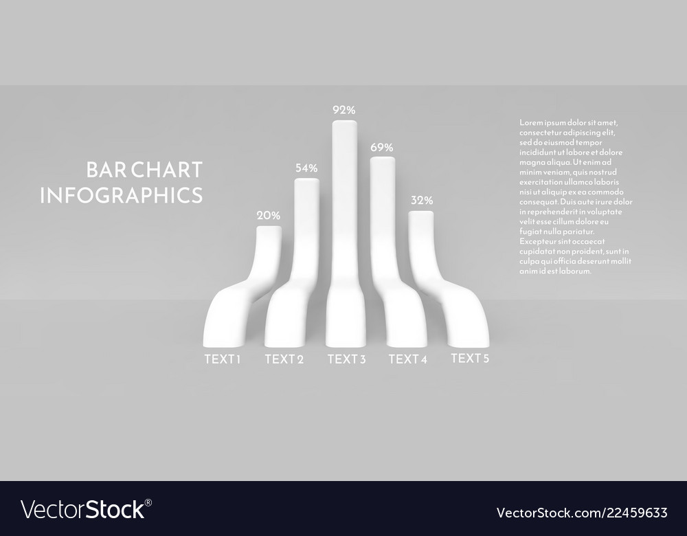 Bar chart in the form of long three-dimensional