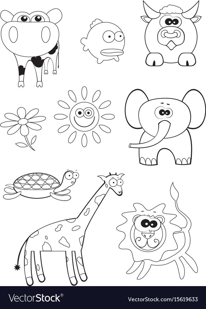 - Cartoon Animals Coloring Book Royalty Free Vector Image