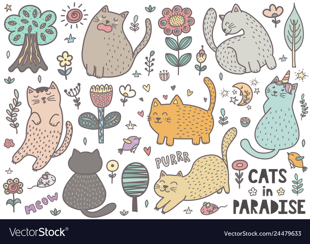 Cute cats collection with mouses birds trees