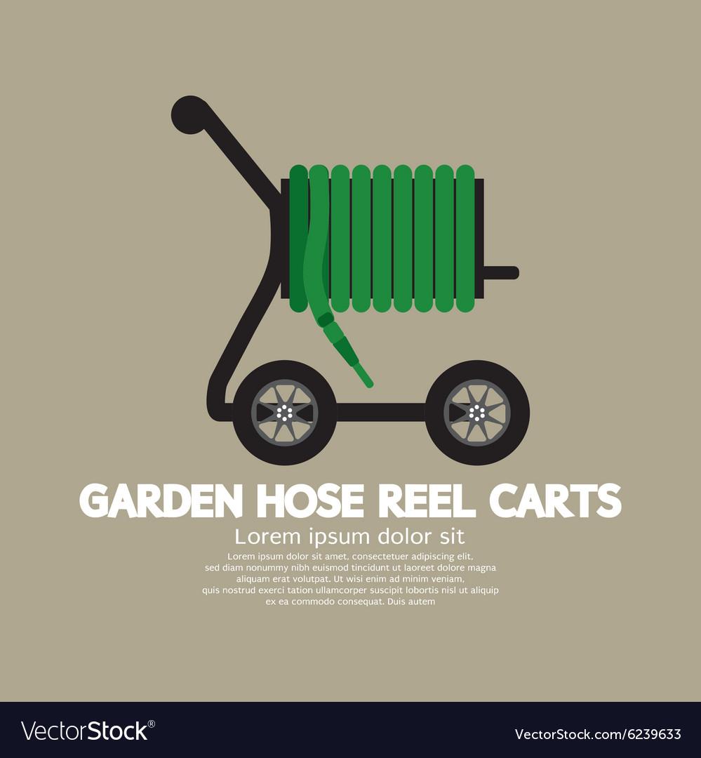 garden hose reel carts vector image - Garden Hose Reel Cart