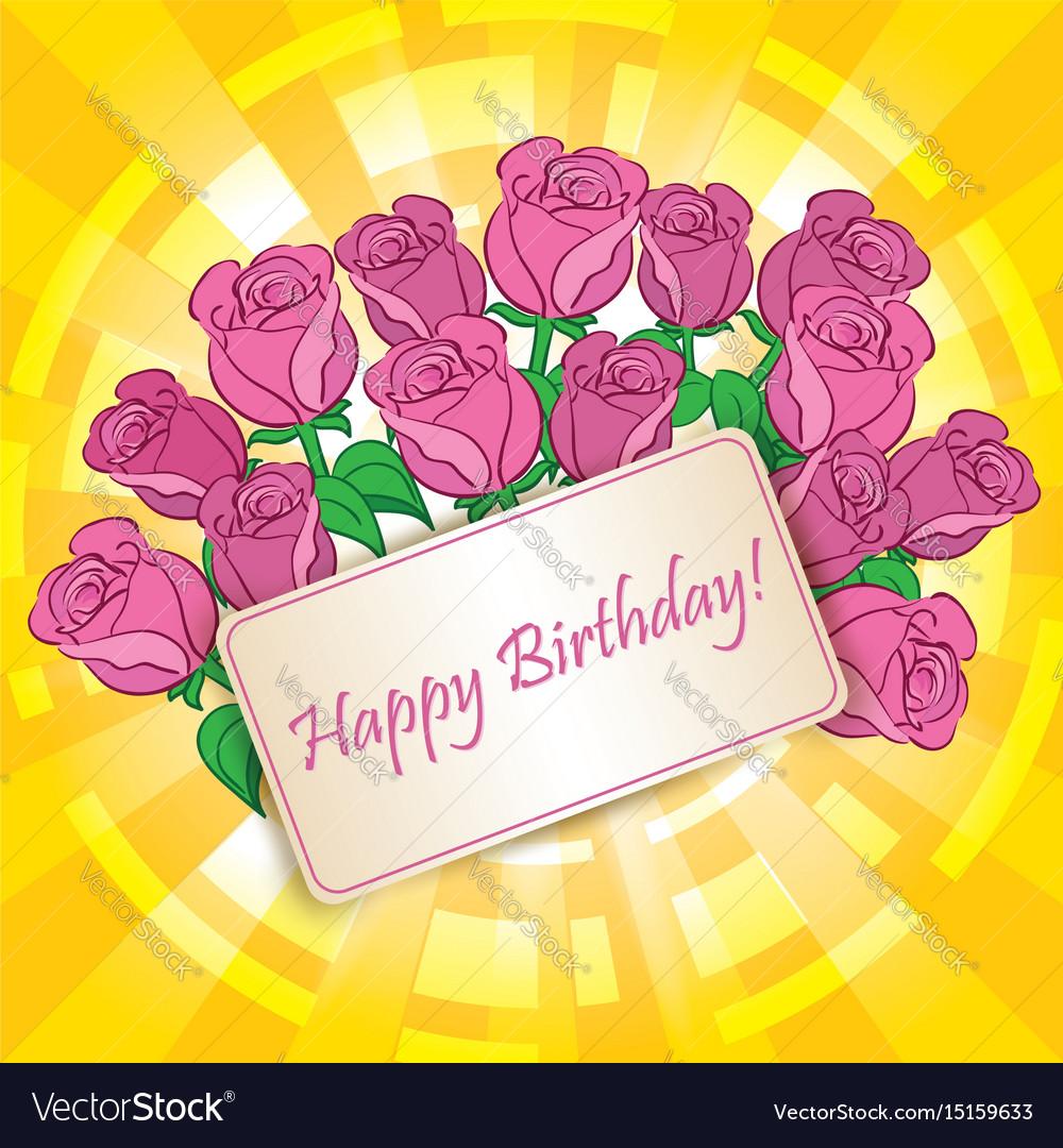 Happy birthday greeting card with roses vector image izmirmasajfo
