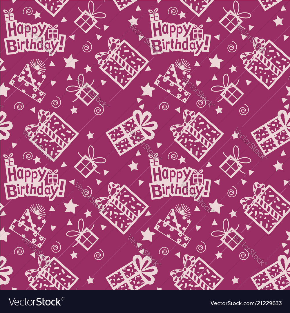 Happy birthday hand drawn pattern background with