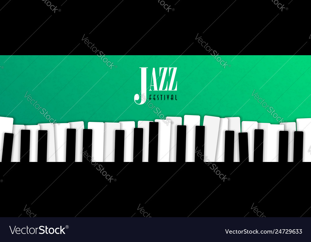 Jazz Music Event Banner With Piano Background Vector Image