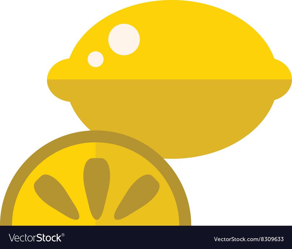 Juicy lemon fruit with slice cartoon flat