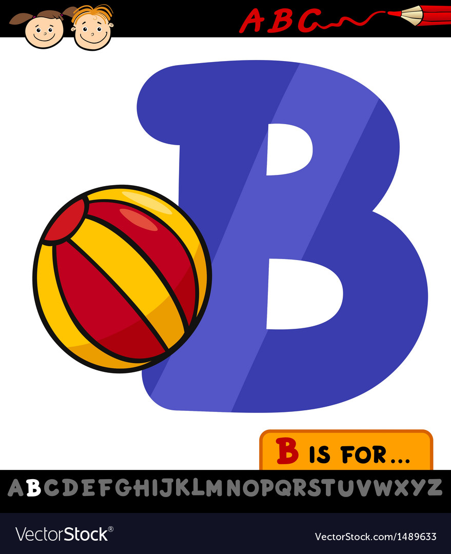 letter b with ball cartoon royalty free vector image