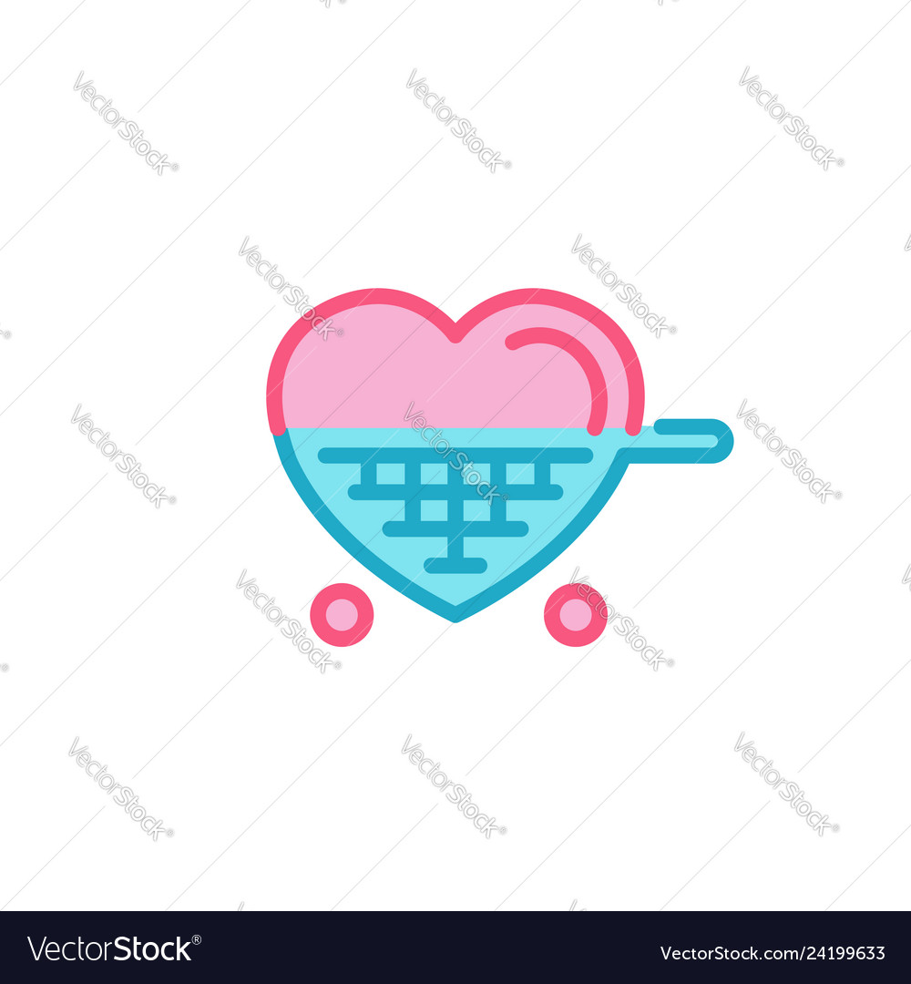 Love With Shopping Cart Icon Simple Heart Line