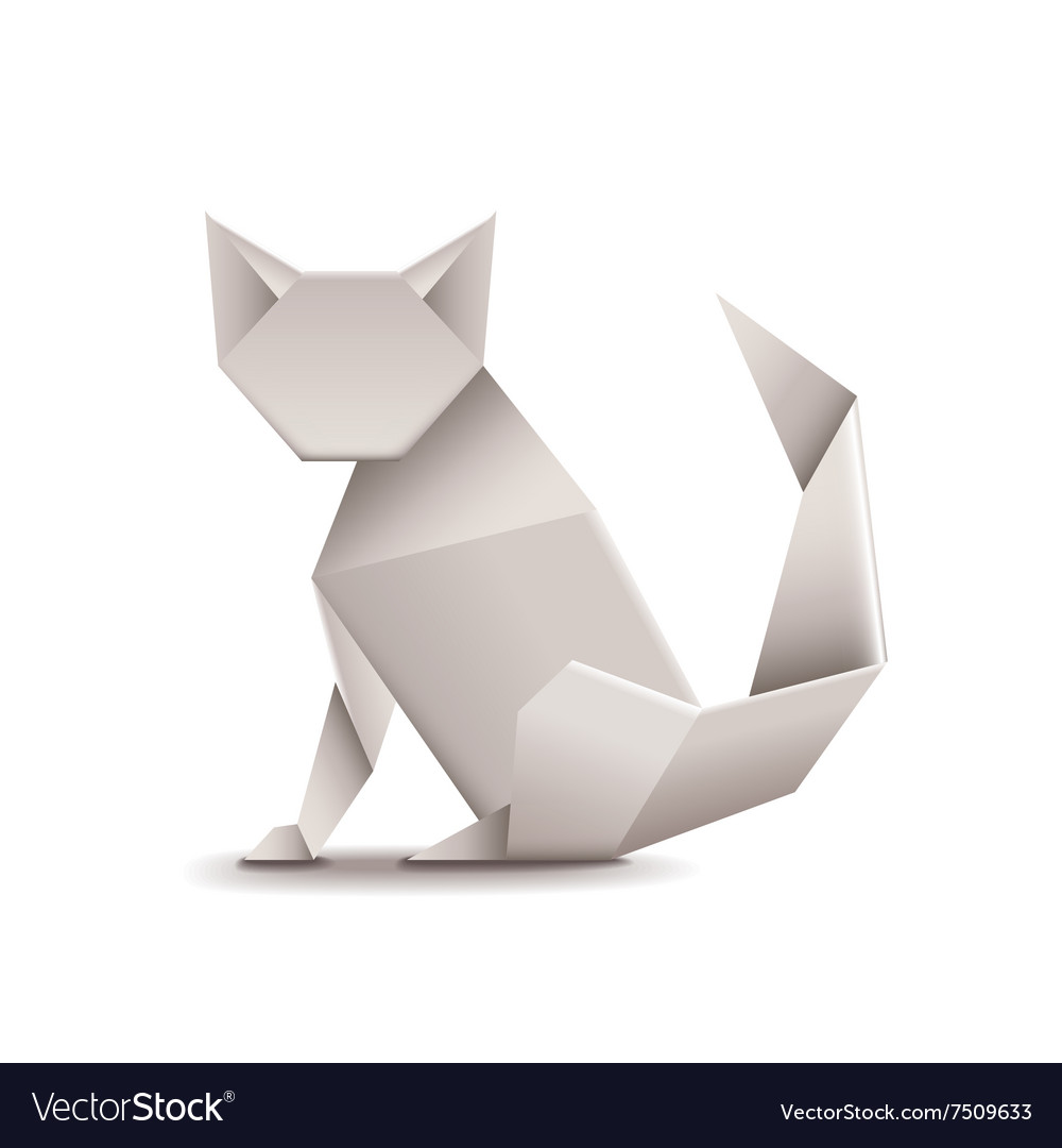 Origami cat isolated on white