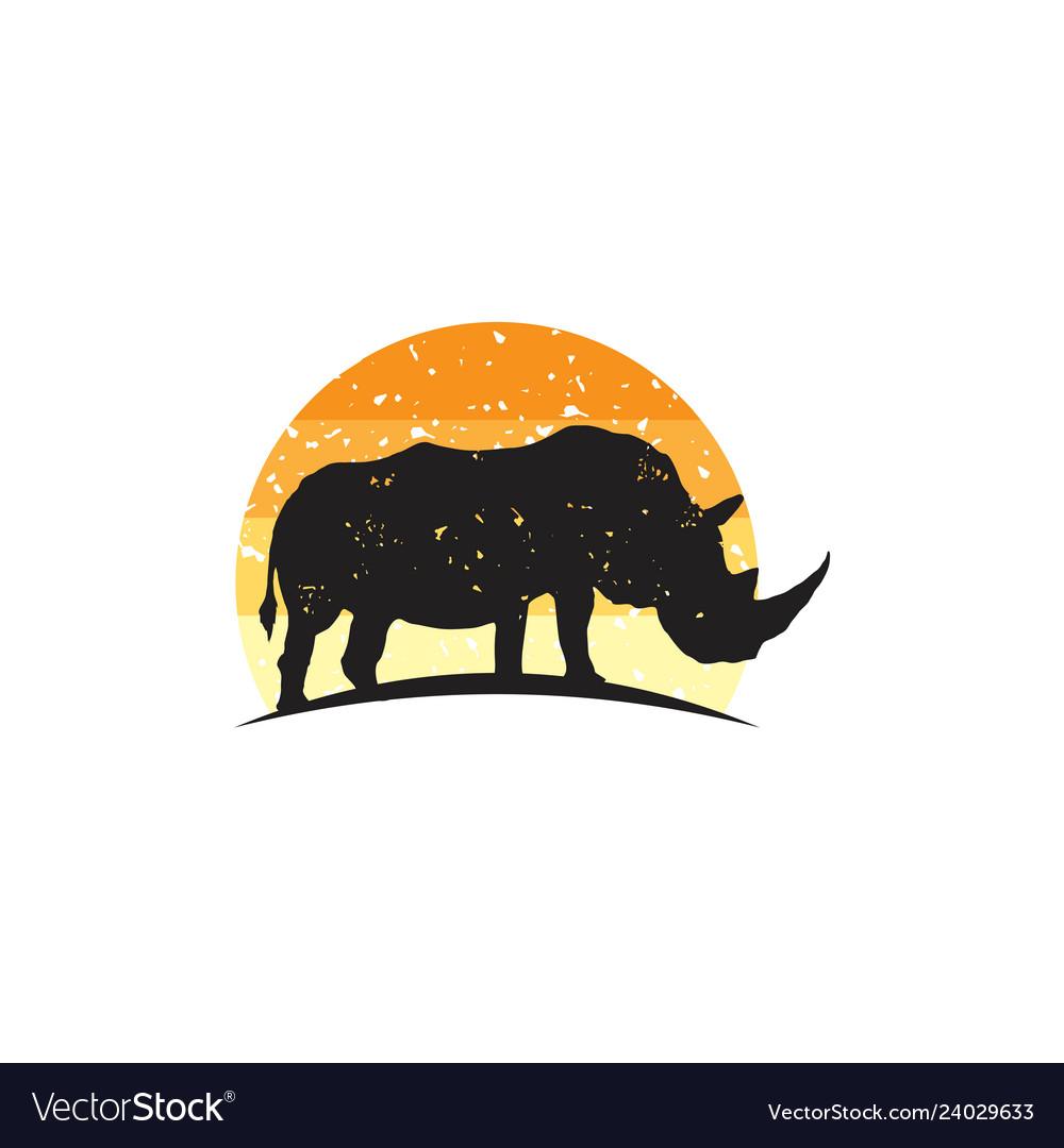 Rustic rhino logo design