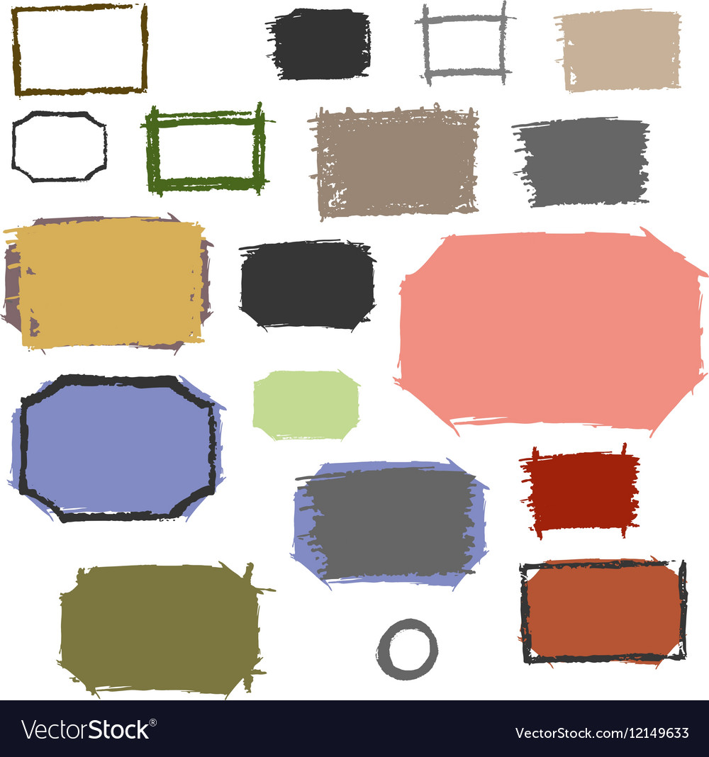 Set grunge frames with scuffed vector image