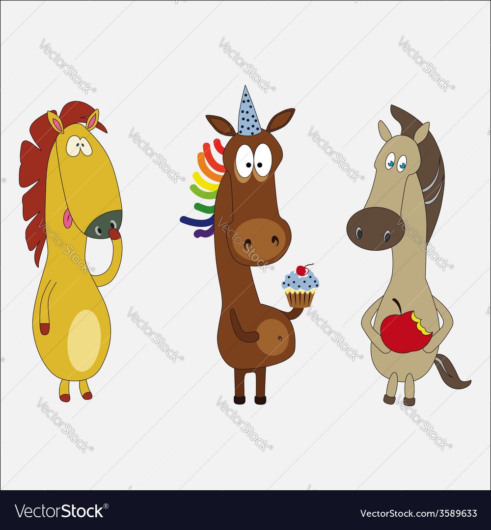 Set of funny horses cartoon character