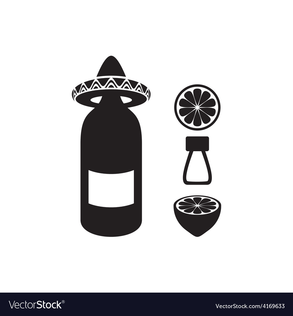 Tequila with lemon and salt vector image