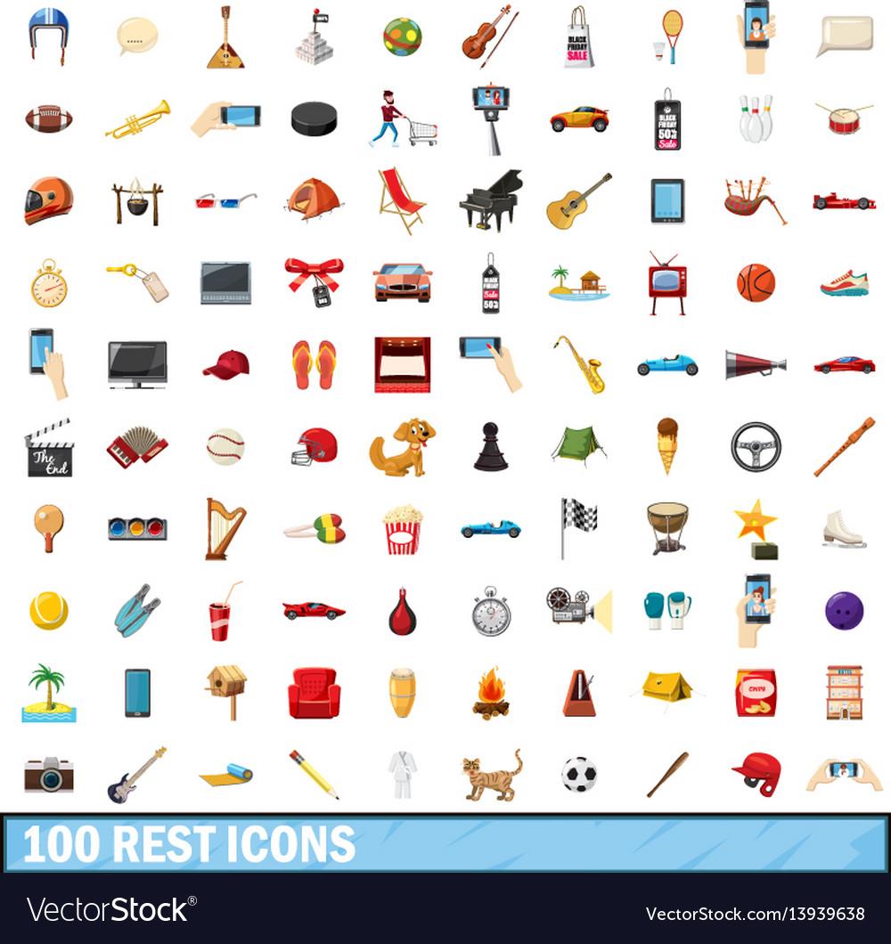 100 rest icons set cartoon style
