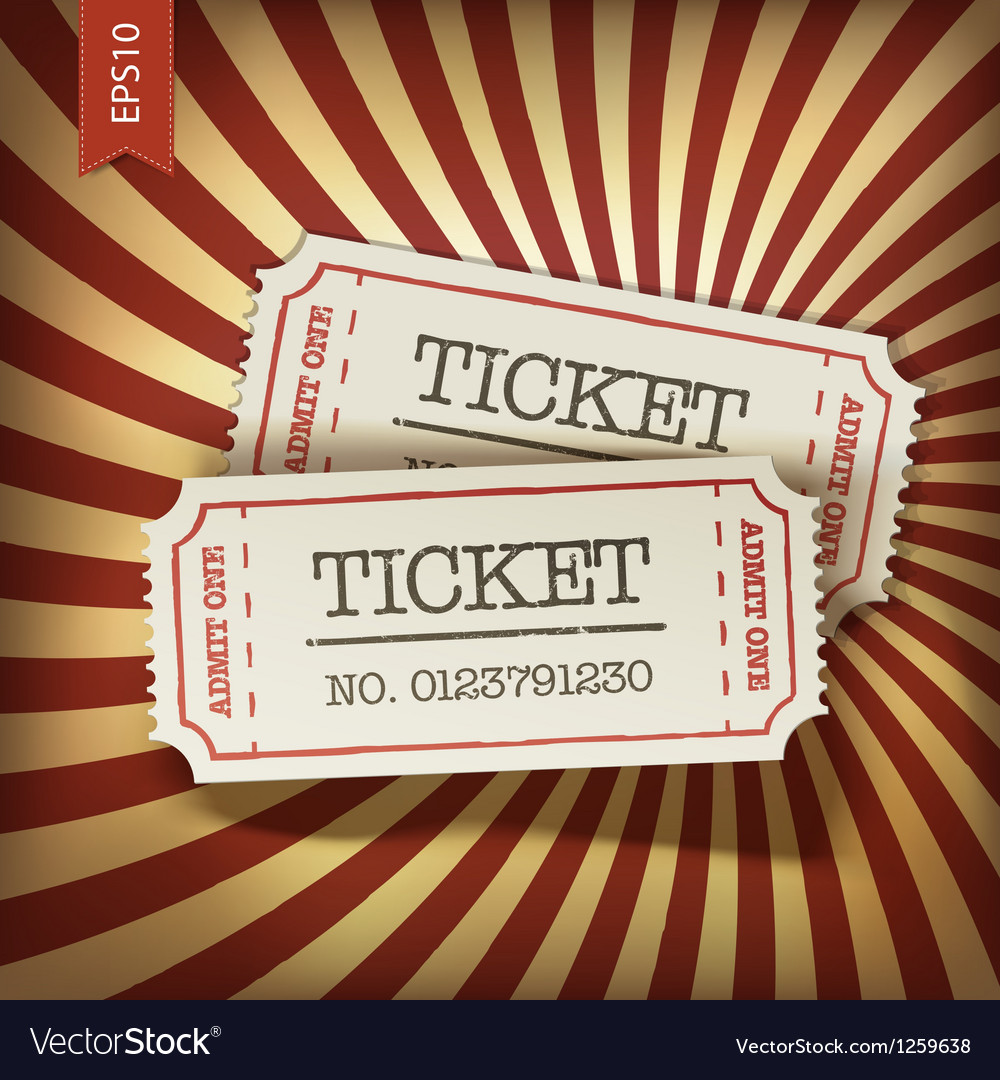 Cinema tickets on retro rays background vector image