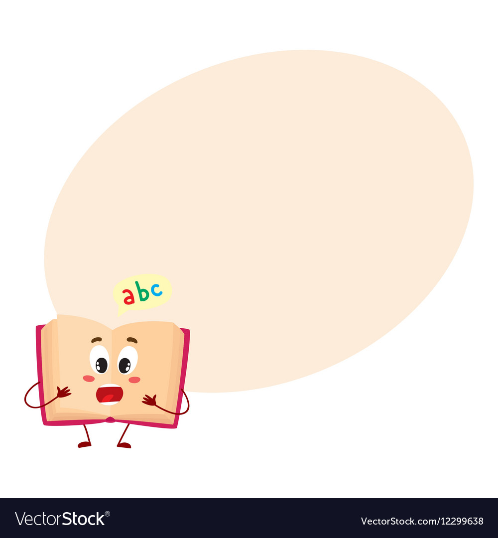 Funny open ABC book character with surprised face