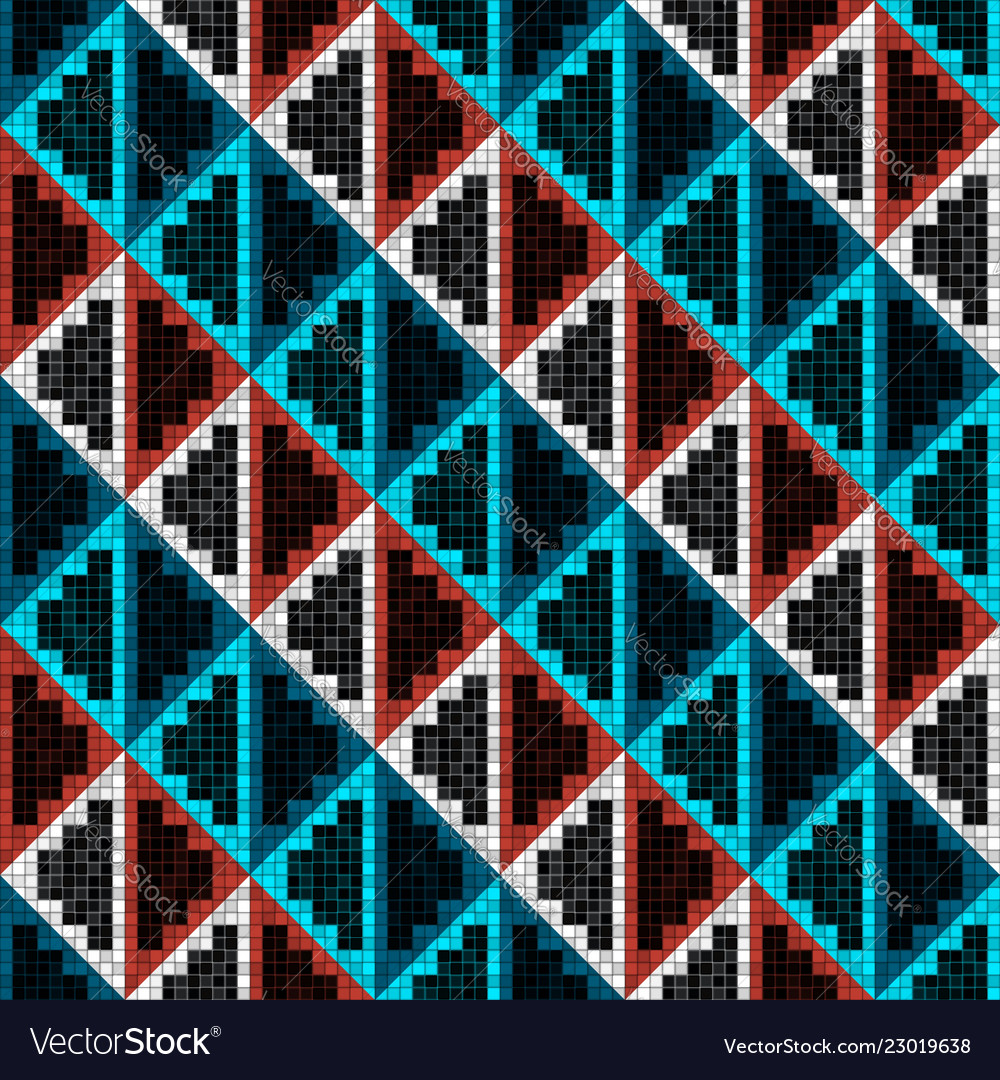 Geometric rhombuses mosaic seamless pattern in