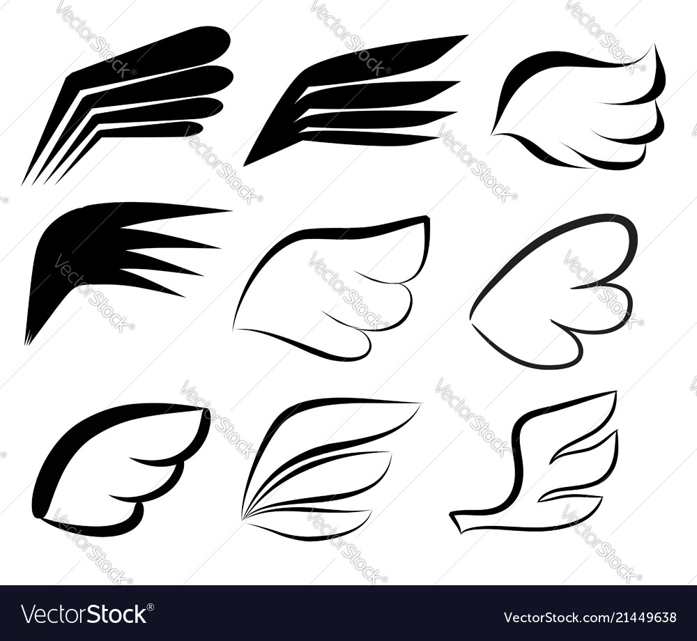 Hand drawn wings logo set doodle winged icons