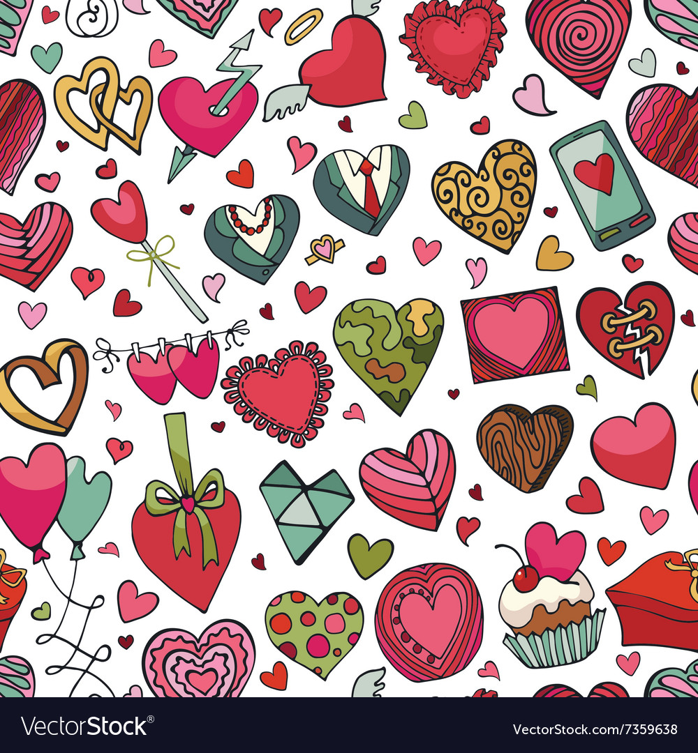 Hearts hand drawing doodleseamless patternColored