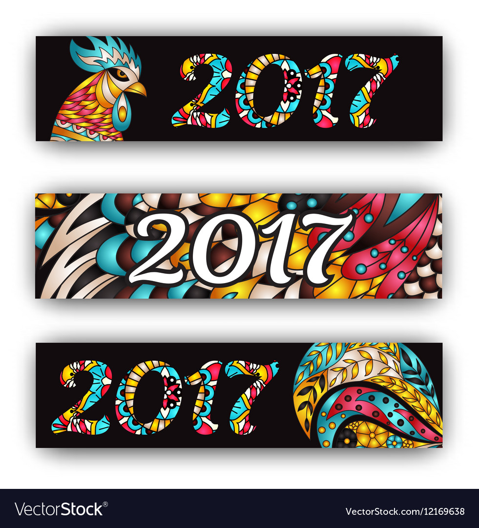 Horizontal Banners Set with 2017 Chinese New Year