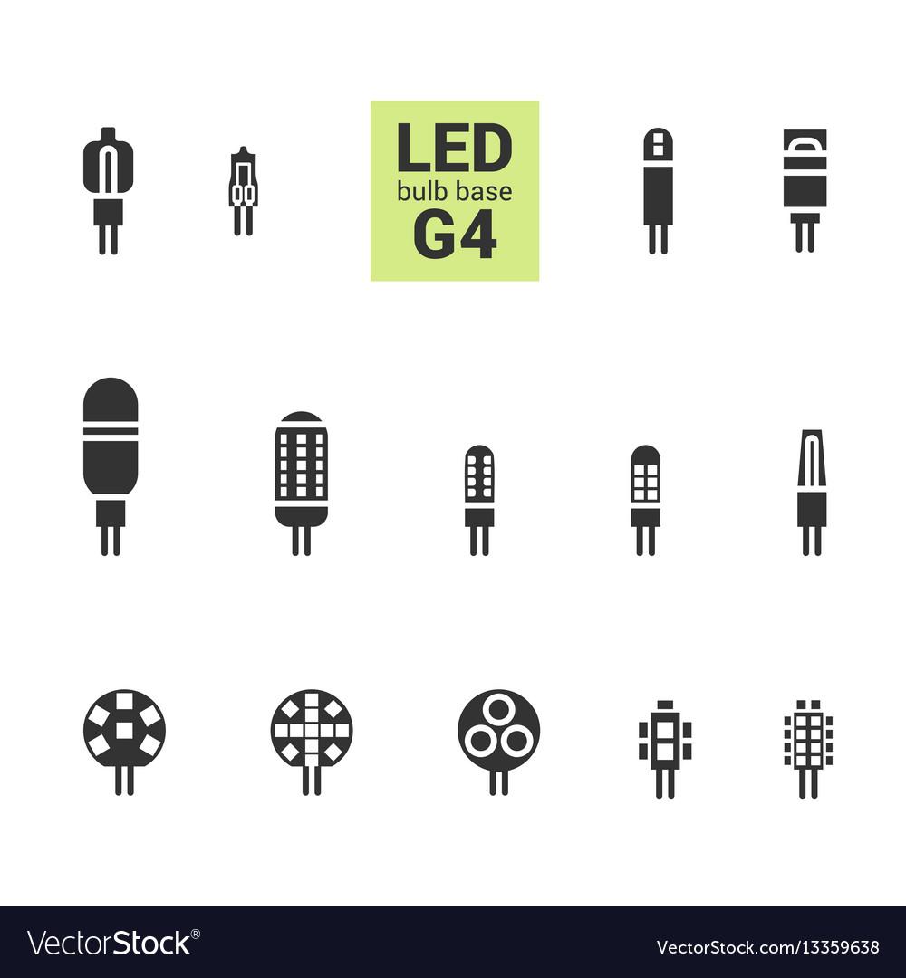 Led light g4 bulbs silhouette icon set