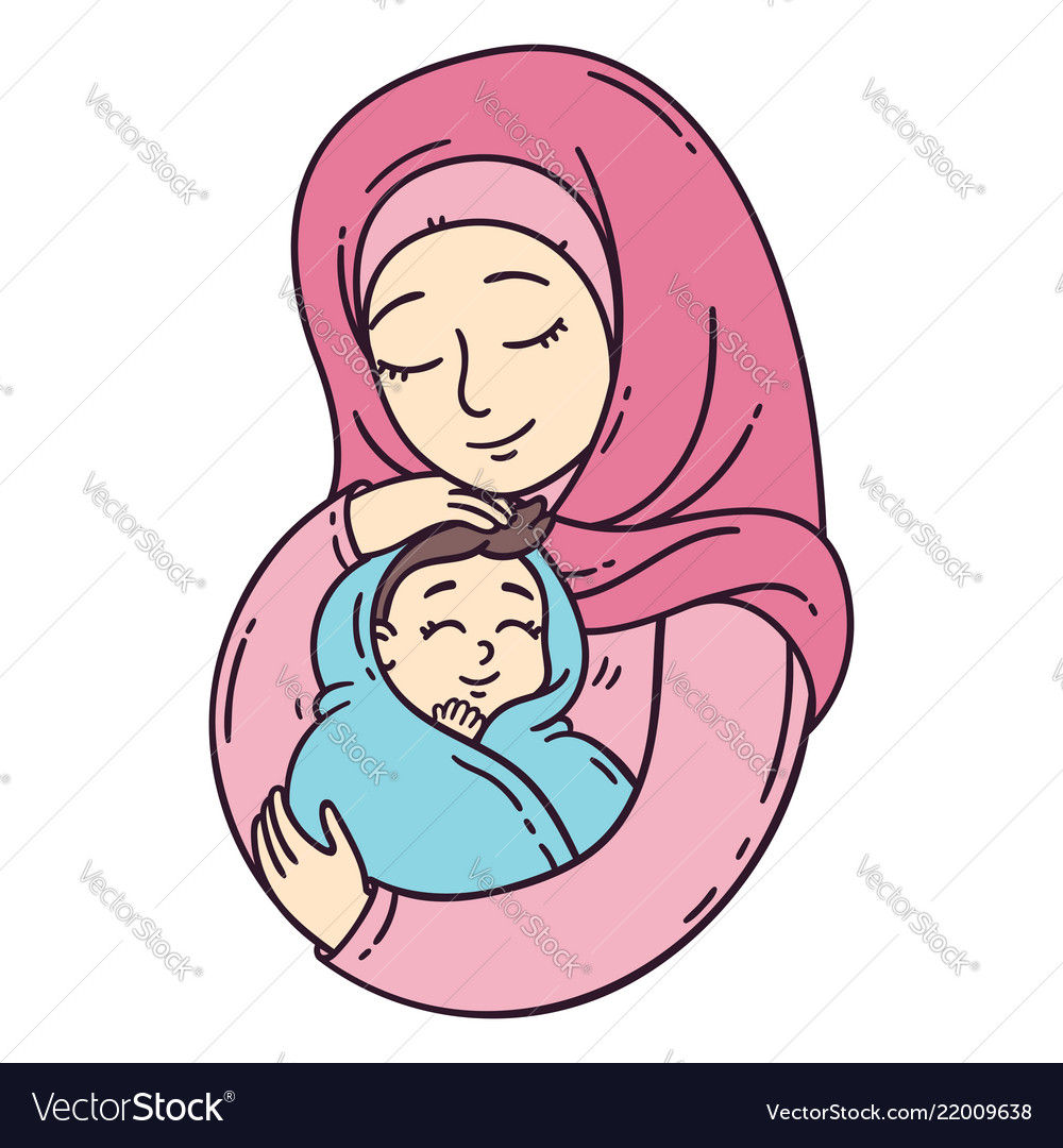 Muslim Mother Holding Baby Royalty Free Vector Image