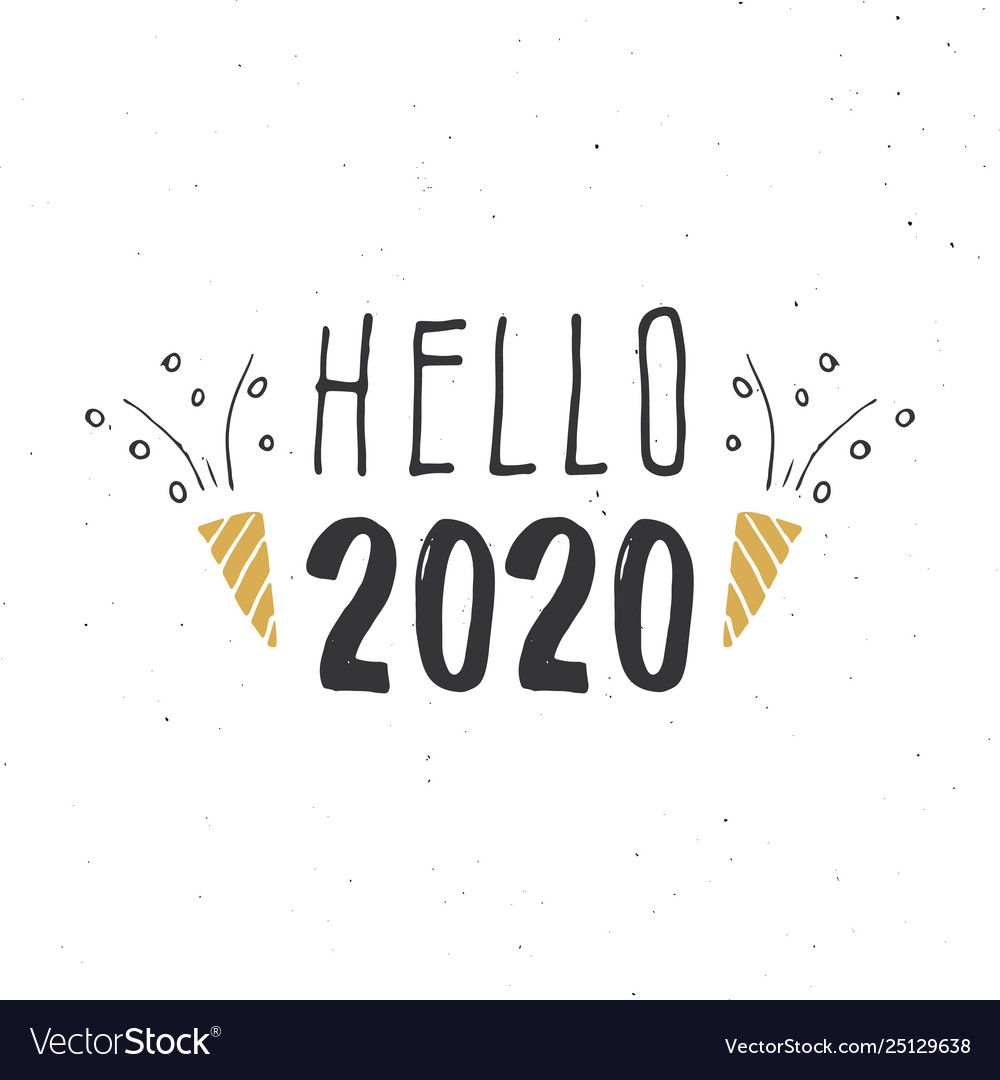 New year greeting card hello 2020 typographic