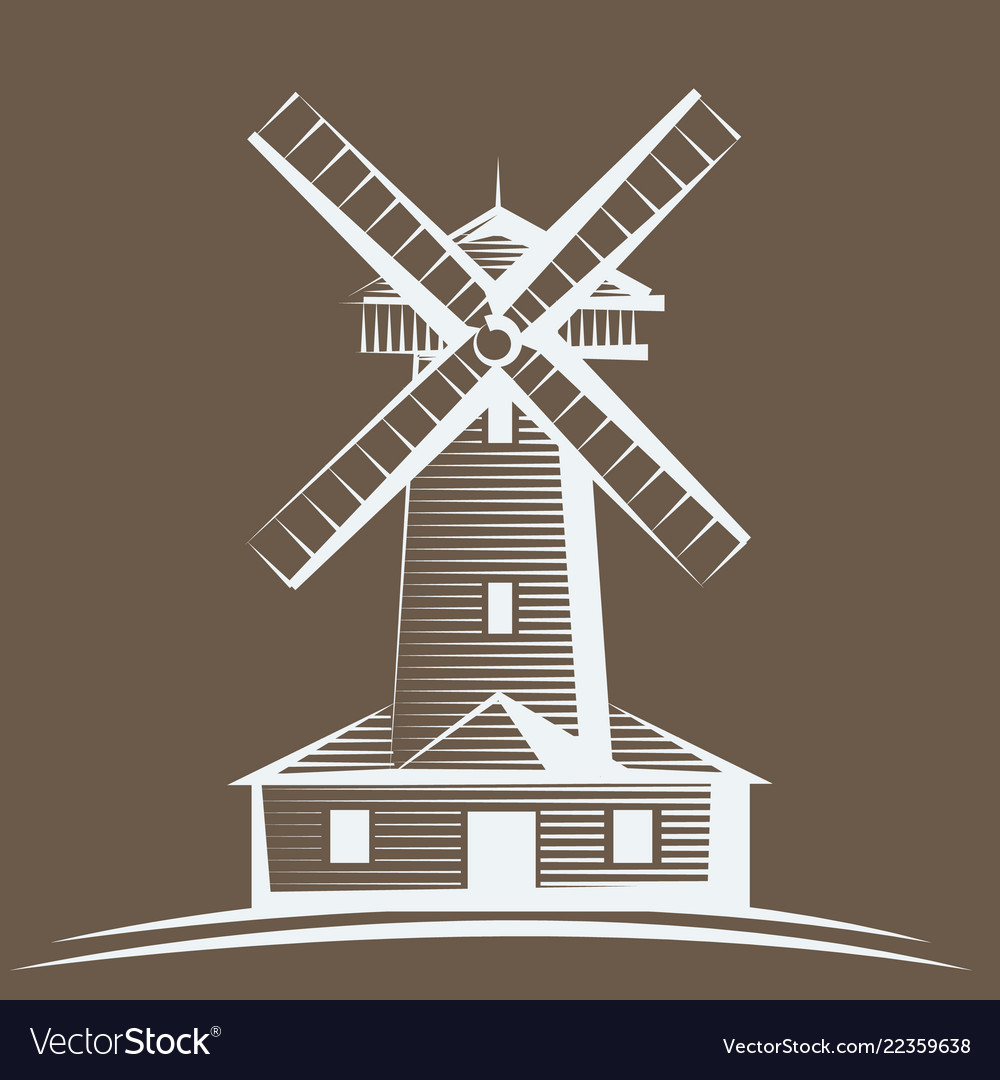 Old wooden mill windmill logo or label farming