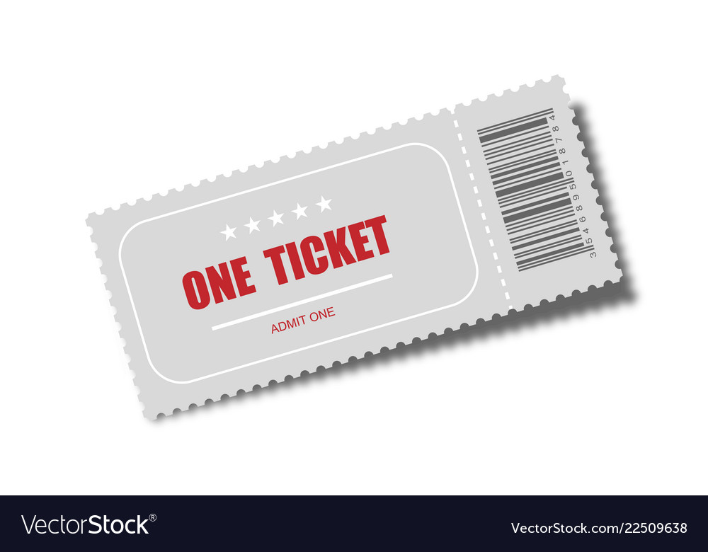 Realistic ticket designed for one person cinema