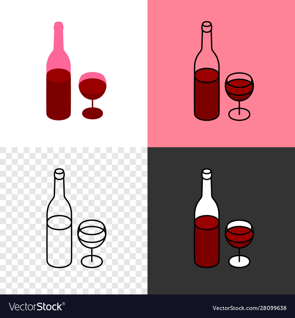 Red wine bottle with glass icon thin line style