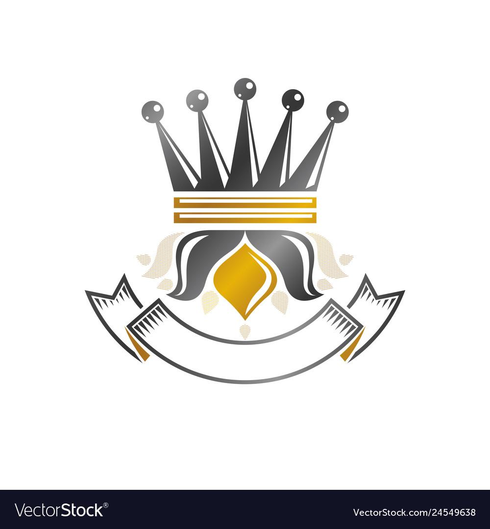 Royal crown emblem heraldic design element retro