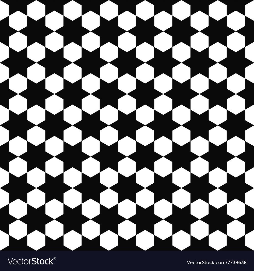 Seamless black white hexagram pattern