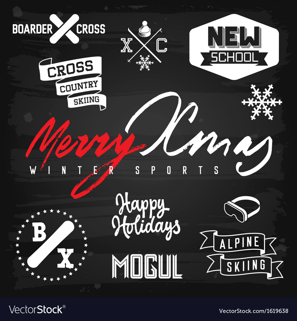 Winter sports ski snowboarding Christmas badges vector image