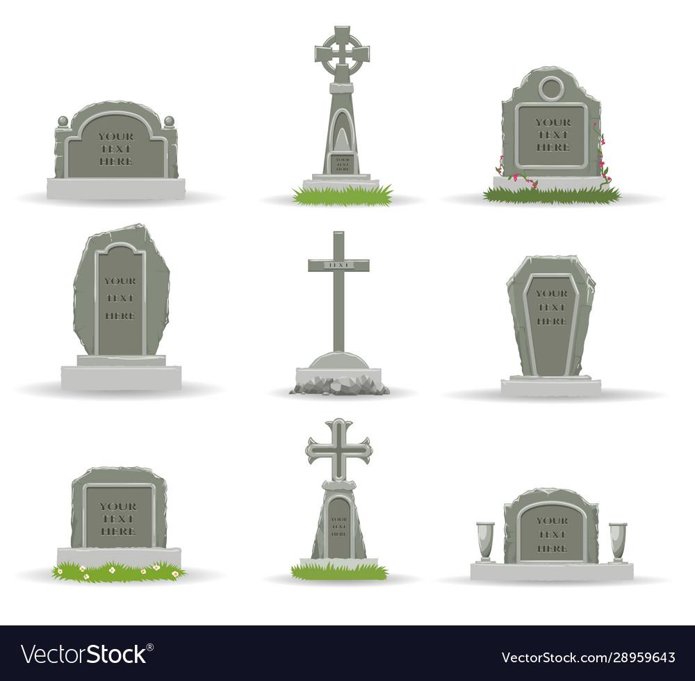 Cartoon gravestones and tombs