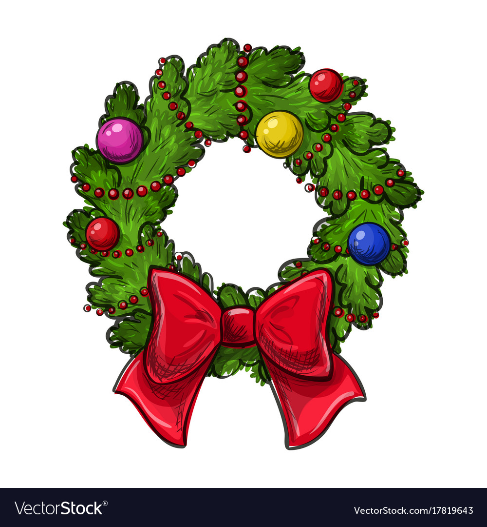 Drawings Of Christmas Wreaths.Christmas Wreath Drawing