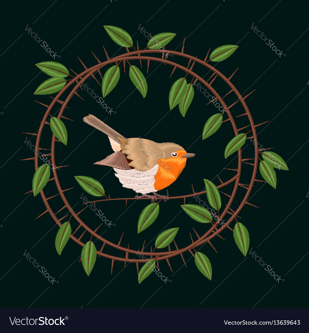 Embroidery blackthorn branches and robin bird