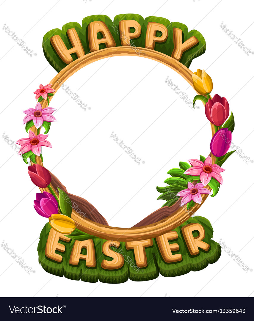 Happy easter greetings with flowers frame
