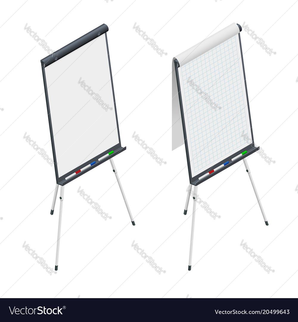 Isometric blank flip chart whiteboard and empty