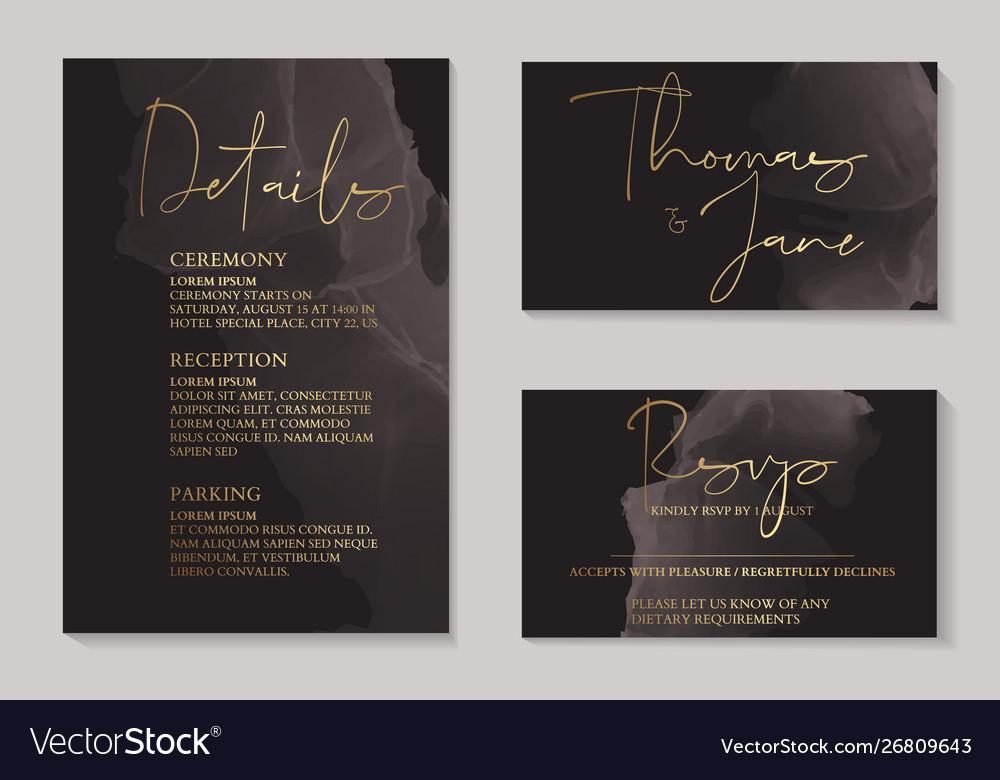 Luxury Dark Chocolate Wedding Invitation Cards