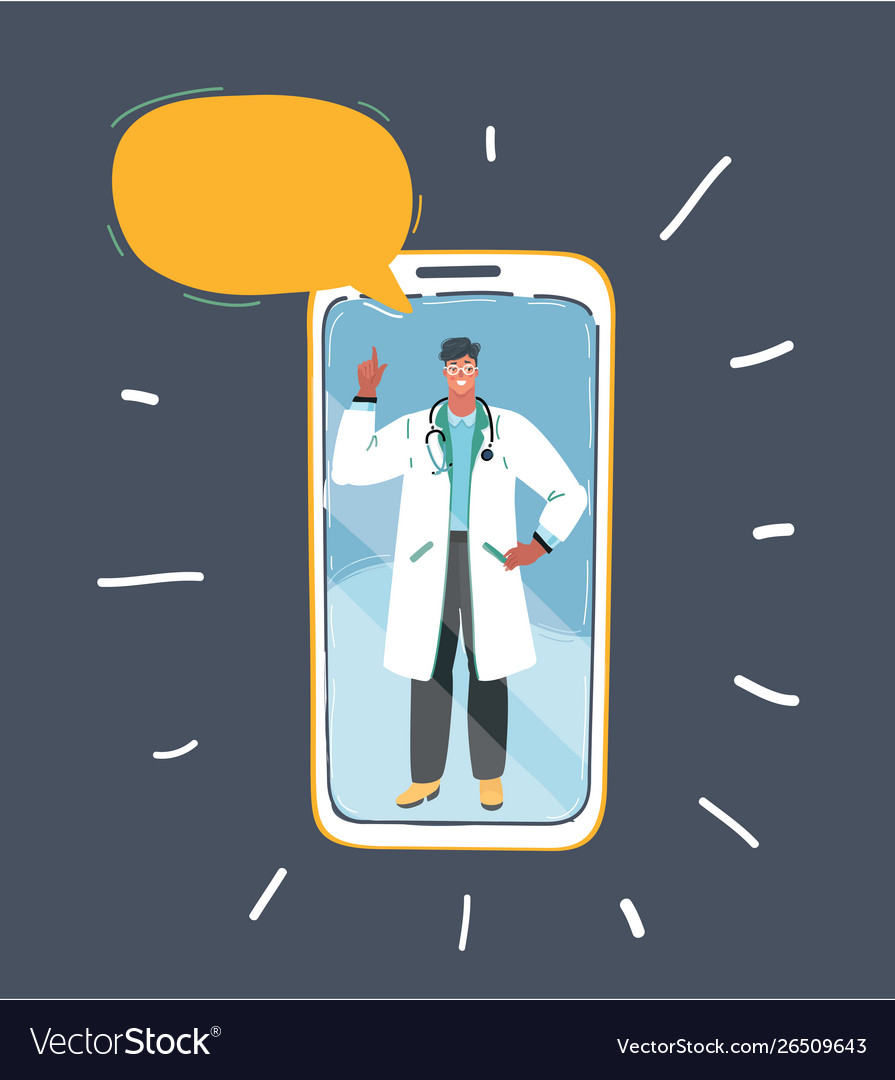 Professional doctor on smartphone speech bubble