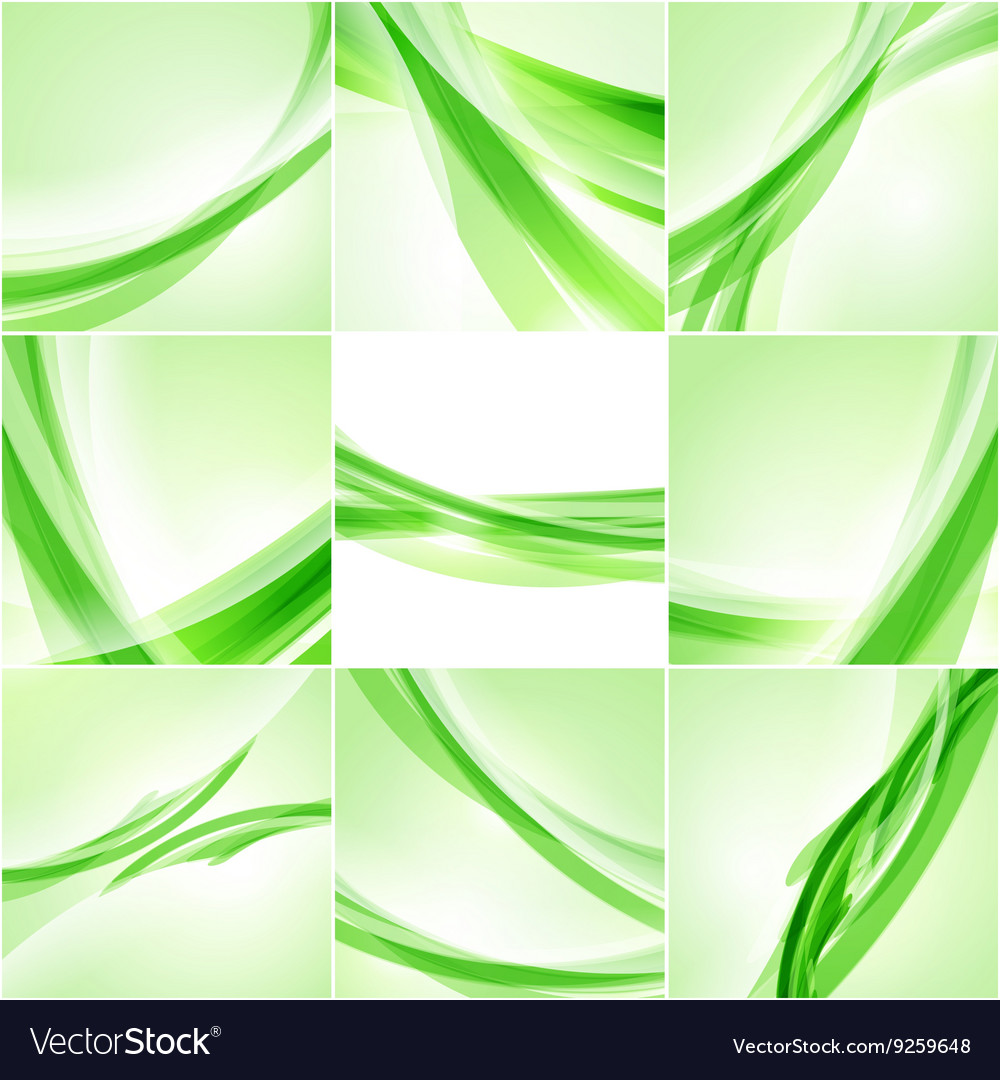 Abstract background set Green waves on light