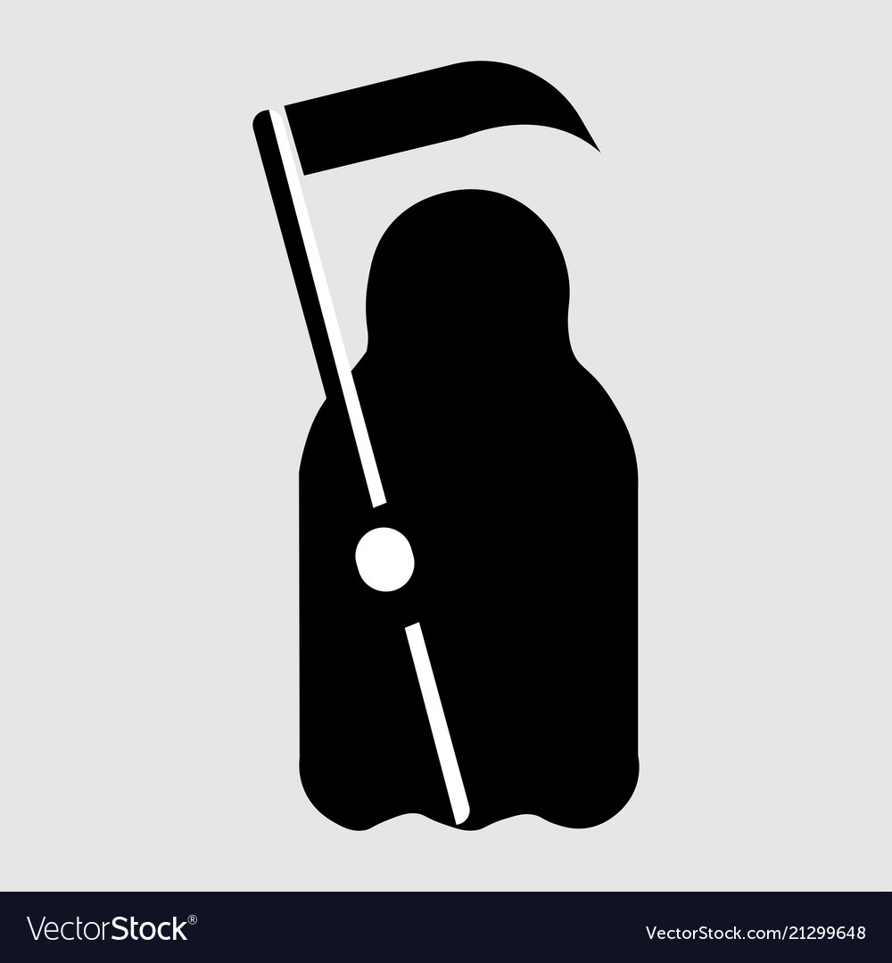 Cartoon death with scythe icon