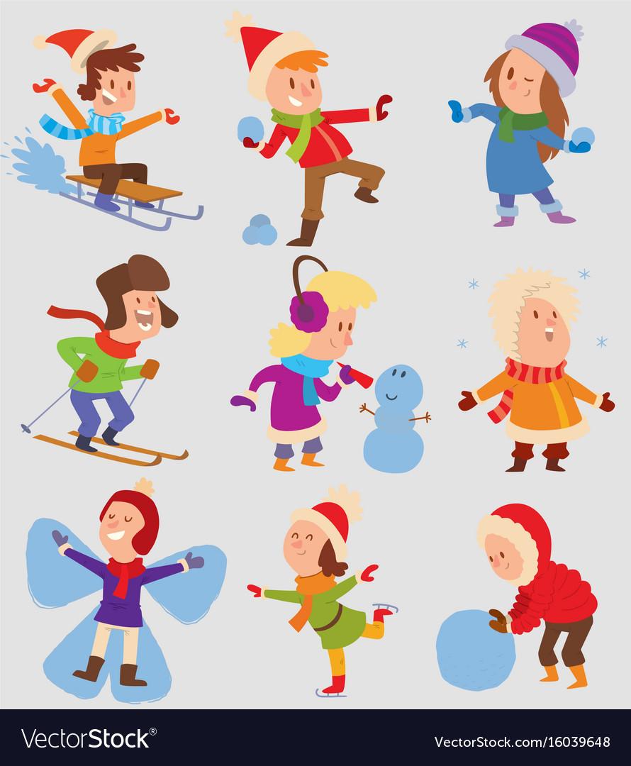 Christmas kids playing winter games