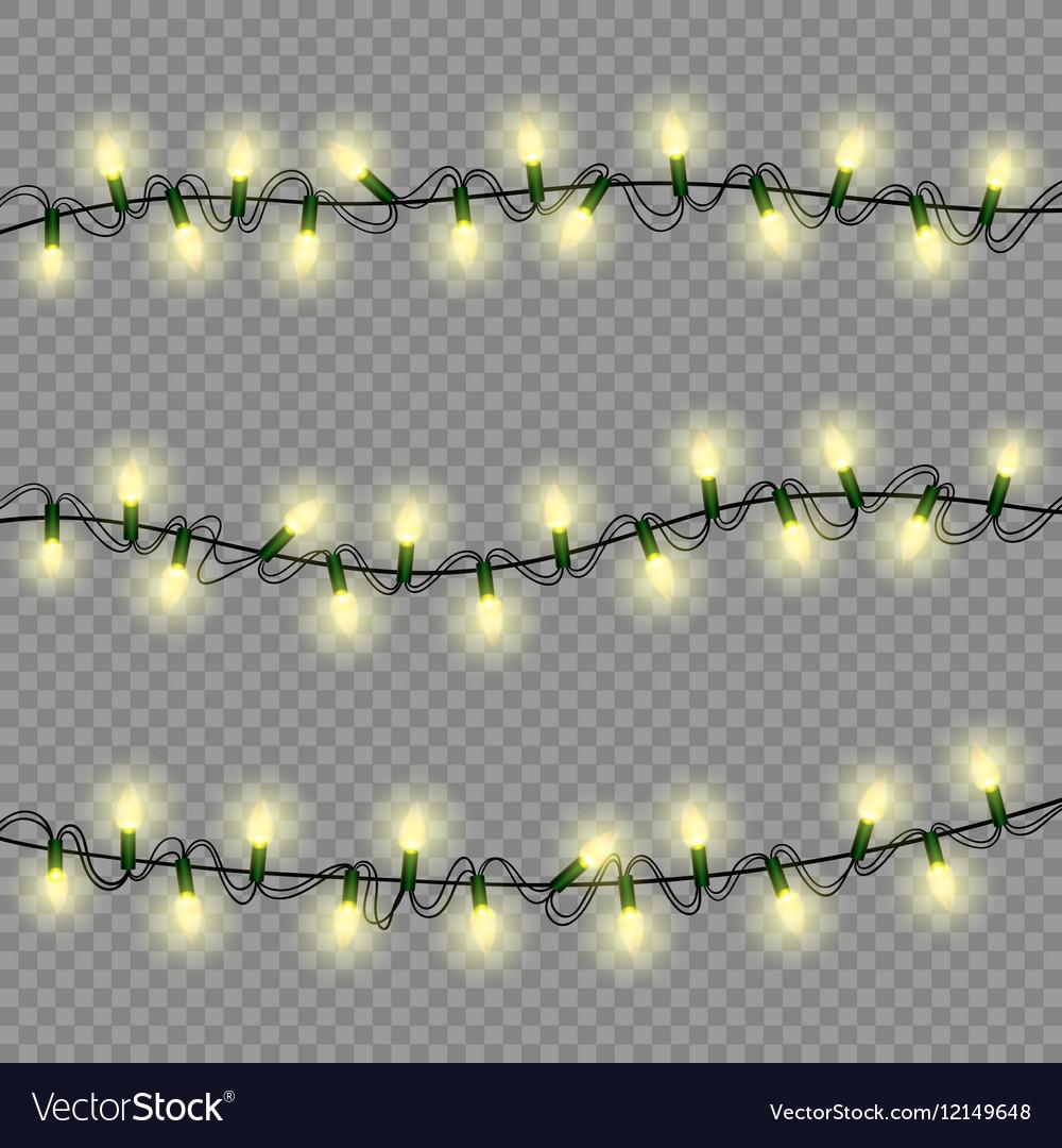 Christmas lights luminous garland isolated