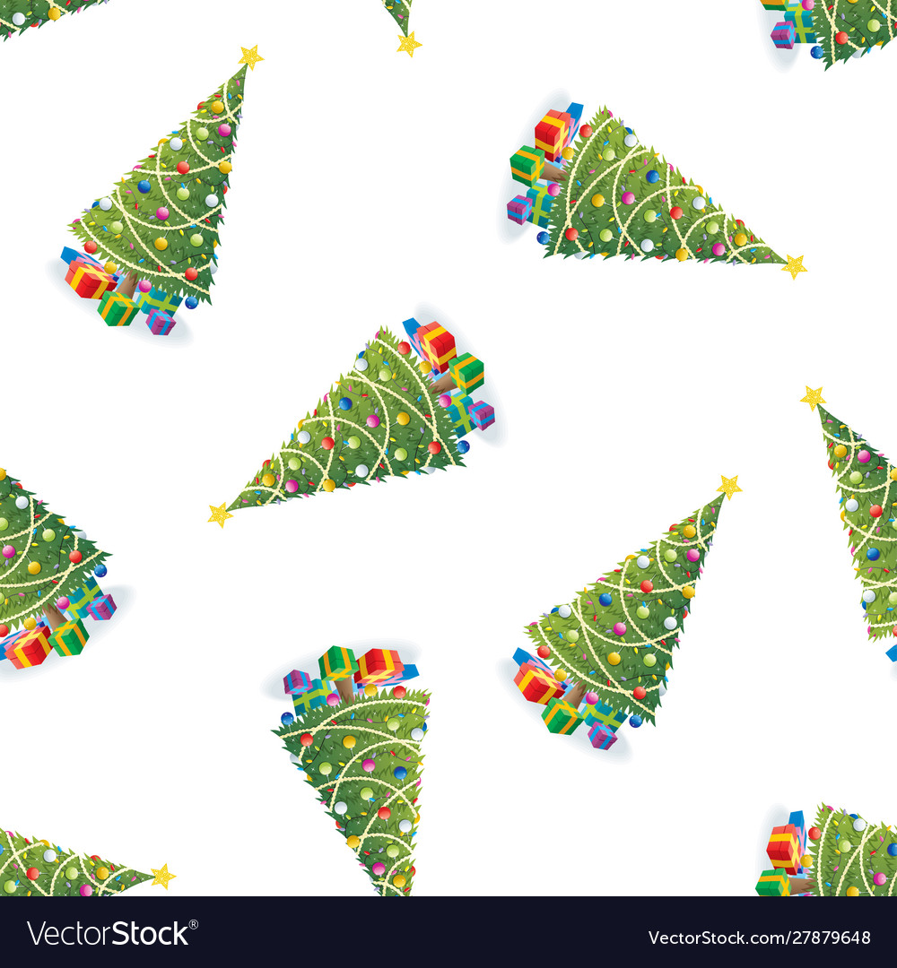 Christmas tree and gifts colorful pattern