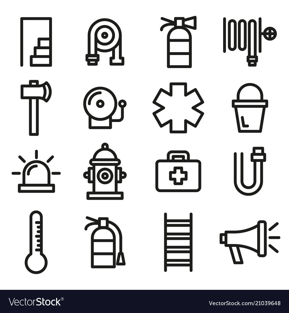 Firefighter fire department and emergency icon set