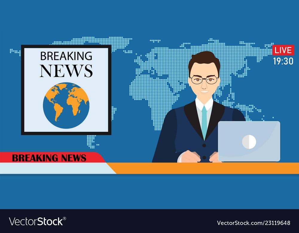 Headline or breaking news man tv reporter
