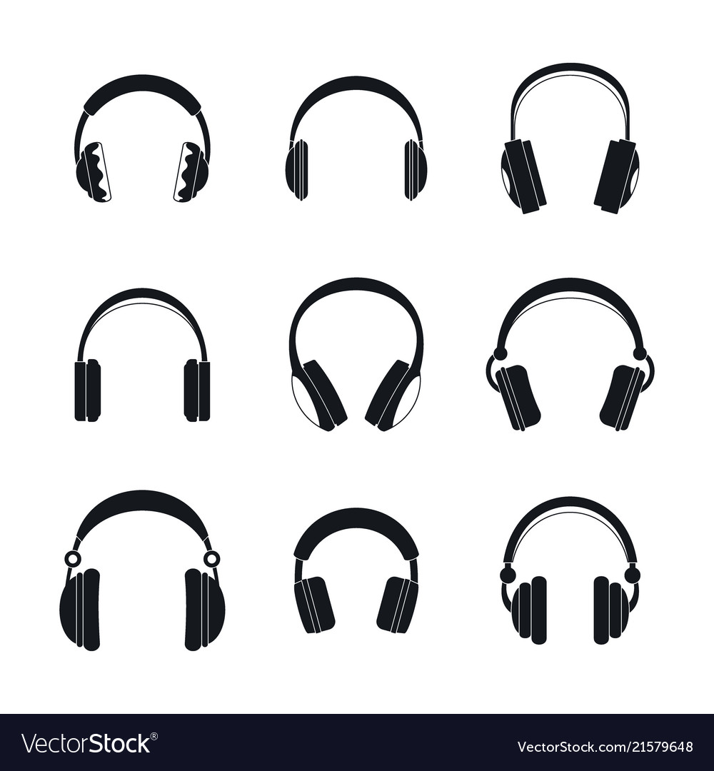 Headphones music speakers icons set simple style