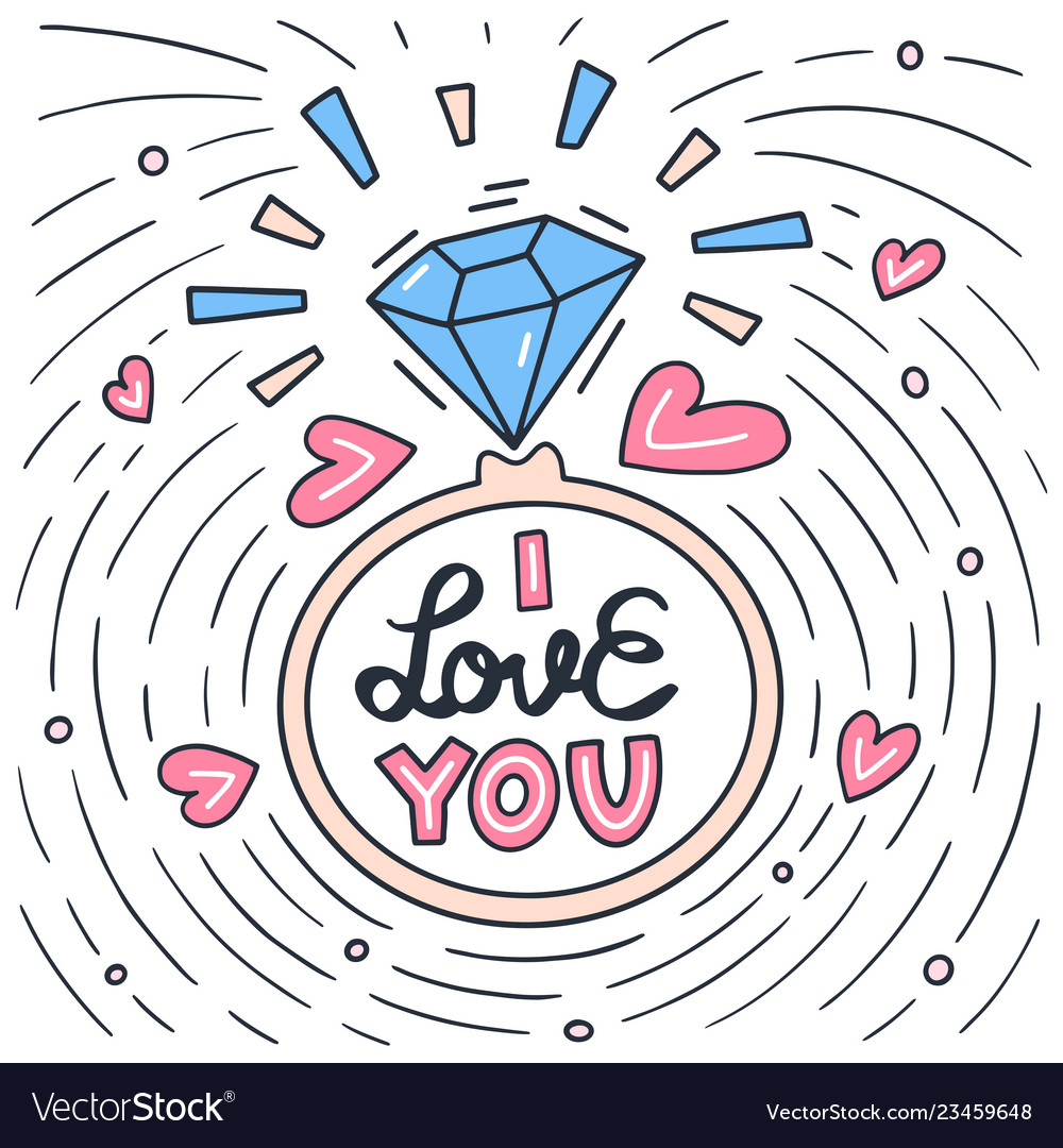 I love you lettering doodle quote with ring