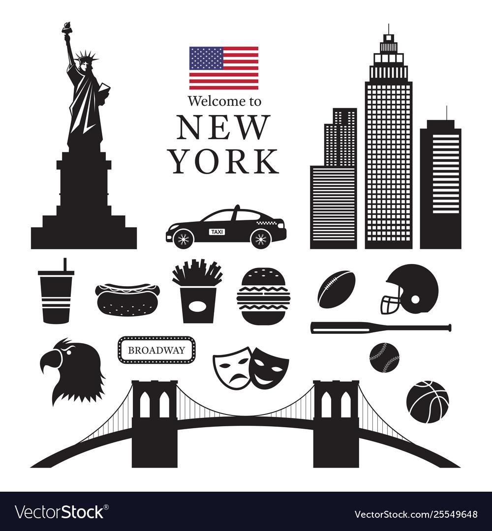 New york landmarks objects silhouette