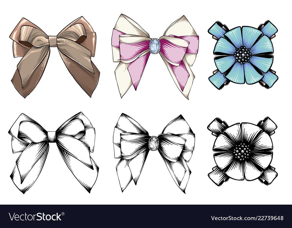 Set beautiful graphic bows hand drawn bows