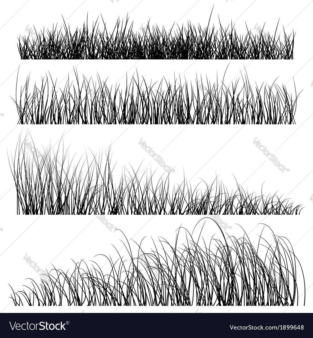Set grass silhouettes backgrounds